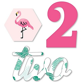 2nd Birthday Pink Flamingo - DIY Shaped Tropical Second Birthday Party Cut-Outs - 24 ct