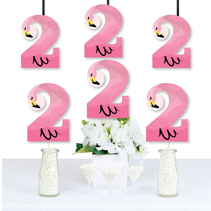 2nd Birthday Pink Flamingo - Two Shaped Decorations DIY Tropical Second Birthday Party Essentials - Set of 20