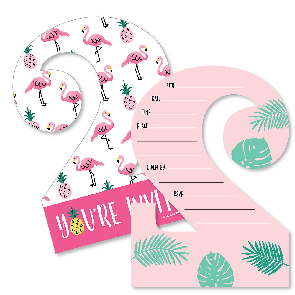 2nd Birthday Pink Flamingo Shaped Fill In Invitations Tropical Second Birthday Party Invitation Cards With Envelopes Set Of 12