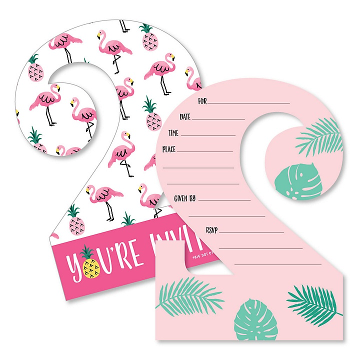2nd Birthday Pink Flamingo - Shaped Fill-In Invitations - Tropical Second Birthday Party Invitation Cards with Envelopes - Set of 12