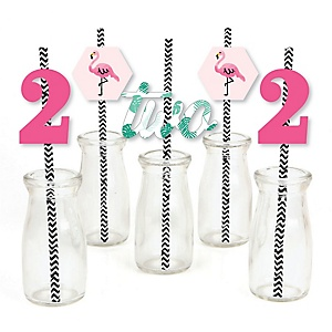 2nd Birthday Pink Flamingo - Paper Straw Decor - Tropical Second Birthday Party Striped Decorative Straws - Set of 24