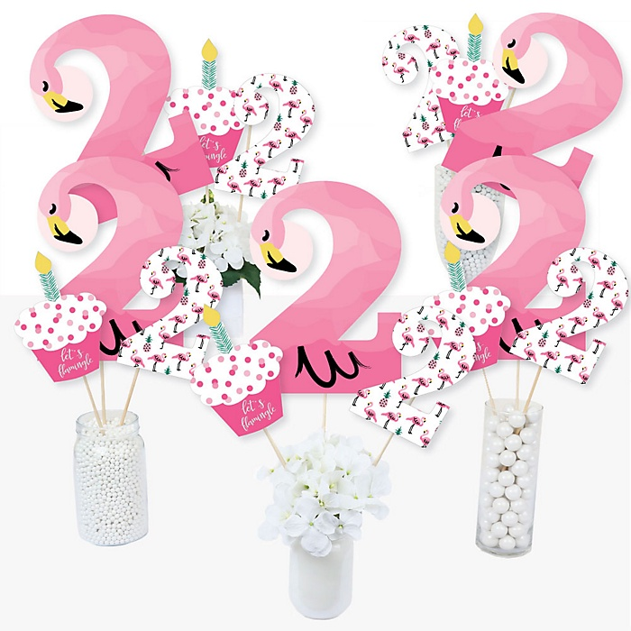 2nd Birthday Pink Flamingo - Tropical Second Birthday Party Centerpiece Sticks - Table Toppers - Set of 15