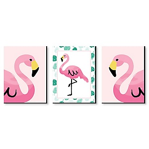 "Pink Flamingo - Nursery Wall Art, Kids Room Décor & Home Decorations - 7.5"" x 10"" - Set of 3 Prints"