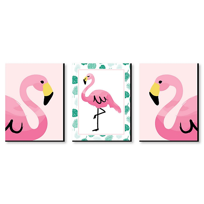 Pink Flamingo - Nursery Wall Art, Kids Room Décor & Home Decorations - 7.5 x 10 inches - Set of 3 Prints
