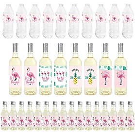 Pink Flamingo - Party Like a Pineapple - Mini Wine Bottle Labels, Wine Bottle Labels and Water Bottle Labels - Tropical Summer Party Decorations - Beverage Bar Kit - 34 Pieces