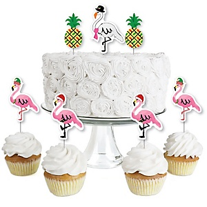 Flamingle Bells - Dessert Cupcake Toppers - Tropical Christmas Clear Treat Picks - Set of 24