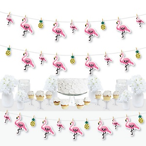 Pink Flamingo - Party Like a Pineapple - Tropical Summer Party DIY Decorations - Clothespin Garland Banner - 44 Pieces