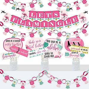 Pink Flamingo - Party Like a Pineapple - Banner and Photo Booth Decorations - Tropical Summer Party Supplies Kit - Doterrific Bundle