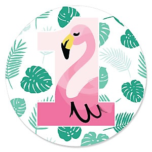 1st Birthday Pink Flamingo - Tropical First Birthday Party Theme