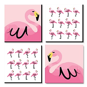 Pink Flamingo - Kids Room, Nursery & Home Decor - 11 x 11 inches Kids Wall Art - Baby Shower Gift Ideas - Set of 4 Prints for Baby's Room