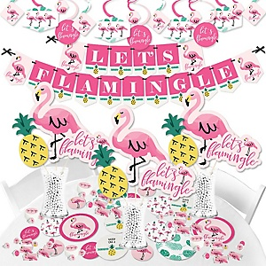 Pink Flamingo - Party Like a Pineapple - Tropical Summer Party Supplies - Banner Decoration Kit - Fundle Bundle