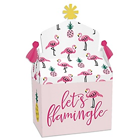 Pink Flamingo - Party Like a Pineapple - Treat Box Party Favors - Tropical Summer Party Goodie Gable Boxes - Set of 12