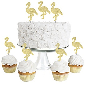 Gold Glitter Flamingo - No-Mess Real Gold Glitter Dessert Cupcake Toppers - Tropical Summer Party Clear Treat Picks - Set of 24