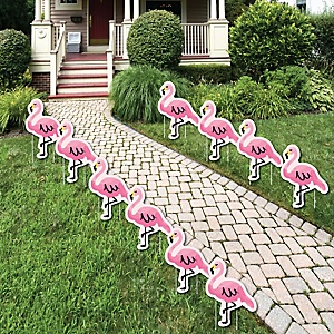 Pink Flamingo - Lawn Decorations - Tropical Summer Outdoor Yard Party Decorations - 10 Piece