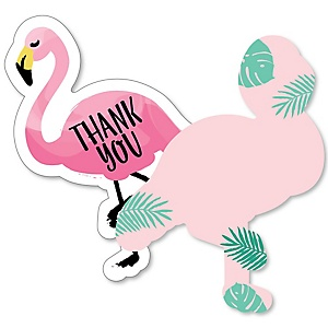 Flamingo - Party Like a Pineapple - Shaped Thank You Cards - Baby Shower or Birthday Party Thank You Note Cards with Envelopes - Set of 12