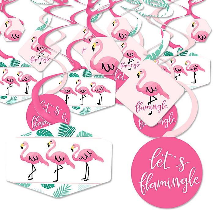 Pink Flamingo - Tropical Summer Party Hanging Decor - Party Decoration Swirls - Set of 40