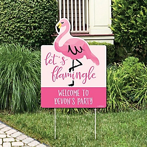 Pink Flamingo - Party Decorations - Tropical Summer Personalized Welcome Yard Sign