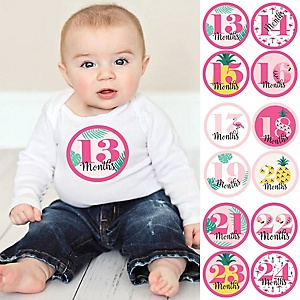 Baby Girl Second Year Monthly Sticker Set - Flamingo - Party Like a Pineapple - Baby Shower Gift Ideas -  13 - 24 Months Stickers