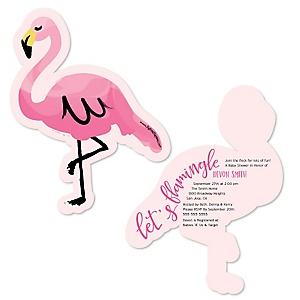 Pink Flamingo - Tropical Summer - Shaped Baby Shower Invitations - Set of 12