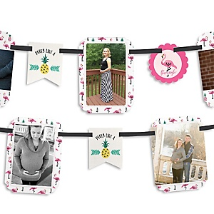 Flamingo - Party Like a Pineapple - Baby Shower Photo Garland Banners
