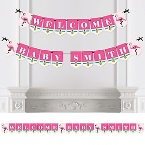 Flamingo - Party Like a Pineapple - Personalized Baby Shower Bunting Banner