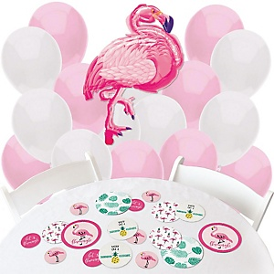 Flamingo - Party Like a Pineapple - Confetti and Balloon Party Decorations - Combo Kit