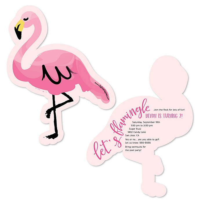 Pink Flamingo - Tropical Summer - Shaped Birthday Party Invitations - Set of 12