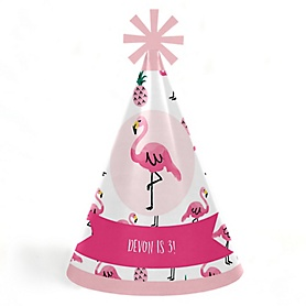 Pink Flamingo - Party Like a Pineapple - Personalized Cone Happy Birthday Party Hats for Kids and Adults - Set of 8 (Standard Size)