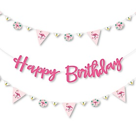 Pink Flamingo - Party Like a Pineapple - Birthday Party Letter Banner Decoration - 36 Banner Cutouts and Happy Birthday Banner Letters