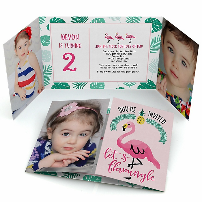 Pink Flamingo - Party Like a Pineapple - Personalized Birthday Party Photo Invitations - Set of 12