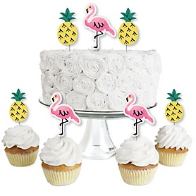 Pink Flamingo - Party Like a Pineapple - Dessert Cupcake Toppers - Baby Shower or Birthday Party Clear Treat Picks - Set of 24