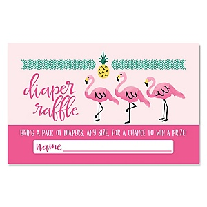 Flamingo - Party Like a Pineapple - Diaper Raffle Girl Baby Shower Game - 18 ct