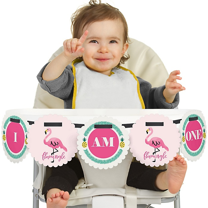 Pink Flamingo - Party Like a Pineapple - 1st Birthday - I am One - Tropical First Birthday High Chair Banner