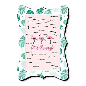 Flamingo - Party Like a Pineapple - Personalized Baby Shower Print with Signature Mat
