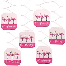 Pink Flamingo - Tropical Summer Party Hanging Decorations - 6 ct