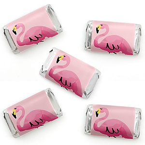 Pink Flamingo - Mini Candy Bar Wrapper Stickers - Tropical Summer Party Small Favors - 40 Count