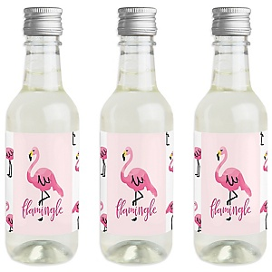 Pink Flamingo - Party Like a Pineapple - Mini Wine and Champagne Bottle Label Stickers - Baby Shower or Birthday Party Favor Gift - For Women and Men - Set of 16
