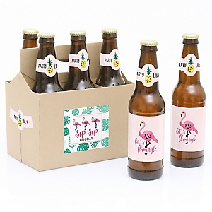 Pink Flamingo - Party Like a Pineapple - Decorations for Women and Men - 6 Beer Bottle Label Stickers and 1 Carrier