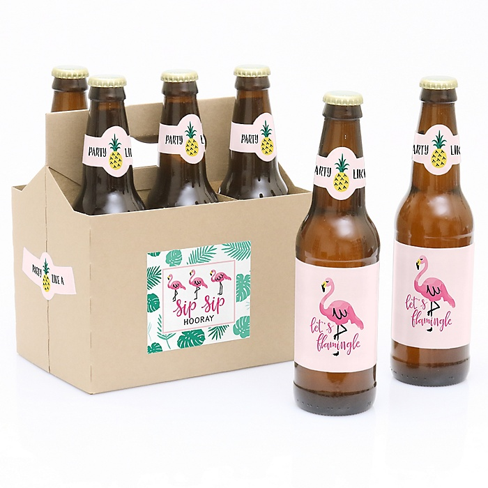 Flamingo - Party Like a Pineapple - 6 Beer Bottle Label Stickers and 1 Carrier