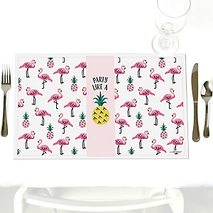 Pink Flamingo - Party Like a Pineapple - Party Table Decorations - Party Placemats - Set of 12