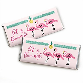 Pink Flamingo - Party Like a Pineapple -  Candy Bar Wrappers Party Favors - Set of 24