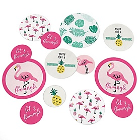 Pink Flamingo - Party Like a Pineapple - Baby Shower or Birthday Party Giant Circle Confetti - Pink Pink Flamingo Party Decorations - Large Confetti 27 Count