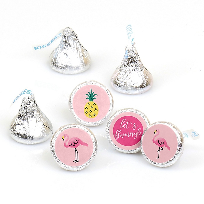 Pink Flamingo - Party Like a Pineapple - Round Candy Labels Party Favors - Fits Hershey's Kisses - 108 ct