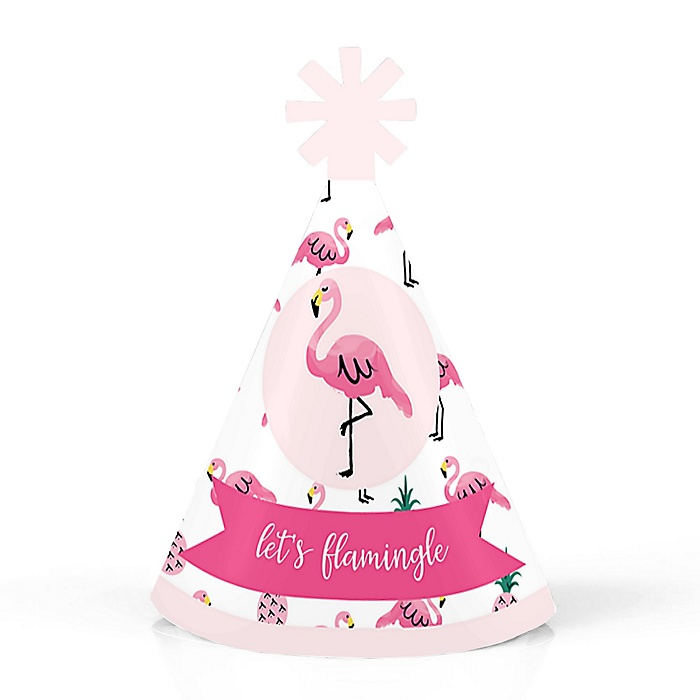 Pink Flamingo - Party Like a Pineapple - Personalized Mini Cone Baby Shower or Birthday Party Hats - Small Little Party Hats - Set of 10