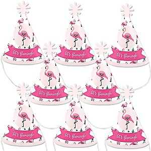 Pink Flamingo - Party Like a Pineapple - Mini Cone Baby Shower or Birthday Party Hats - Small Little Party Hats - Set of 8