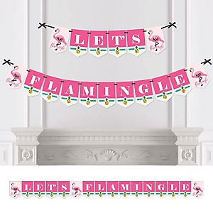 Pink Flamingo - Party Like a Pineapple - Let's Flamingle Party Bunting Banner & Decorations