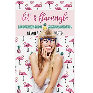 "Flamingo - Party Like a Pineapple - Personalized Baby Shower Booth Backdrops - 36"" x 60"""