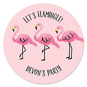 Pink Flamingo - Personalized Tropical Summer Party Sticker Labels - 24 ct