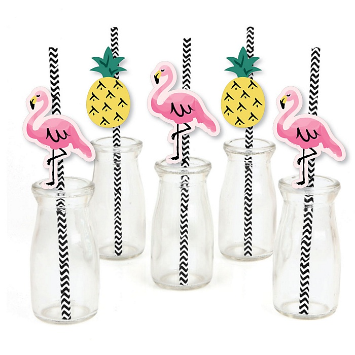 Pink Flamingo - Party Like a Pineapple - Paper Straw Decor - Baby Shower or Birthday Party Striped Decorative Straws - Set of 24