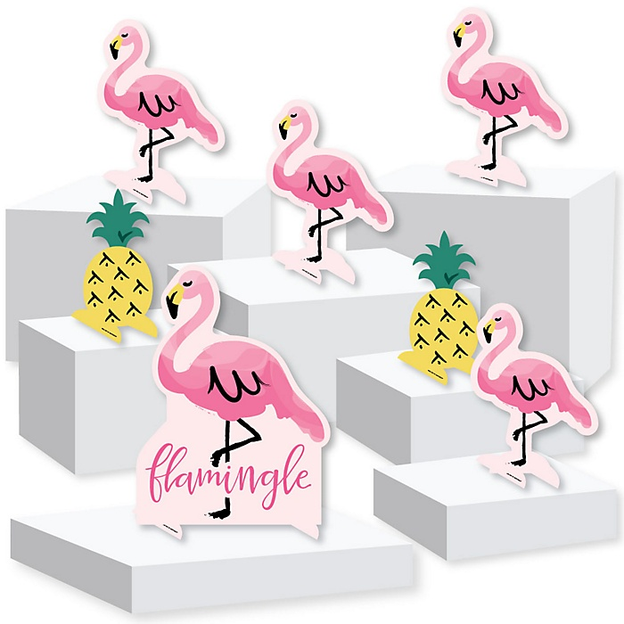 Pink Flamingo - Party Like a Pineapple - Baby Shower or Birthday Party Centerpiece and Buffet Table Decor - Tabletop Standups - Set of 7